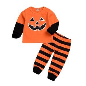 kids clothes girls boys pumpkin outfits Halloween children tops+stripe pants 2pcs set 2020 Spring Autum baby Clothing Sets C482