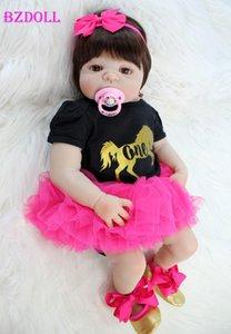 "BZDOLL 22"" Full Silicone Newborn Baby Girl Realistic Reborn Doll Baby Princess Toys Waterproof Lovely Bebe Boneca Alive Y191207"