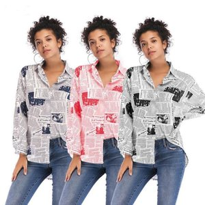 Newspaper Letter Print Blouse Women Long Sleeve T Shirt Spring Fall Camicia Turn-down Collar Button Shirts Fashion Blouses Tops Clothing INS