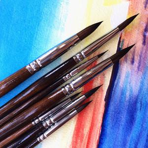 7 adet Yüksek Sınıf Boya Fırçası Suluboya Resim Fırça Seti Sanat Malzemeleri için Yüksek Kaliteli Boya Fırçaları C18112001