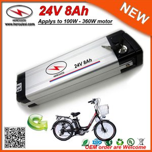 Aluminium case Silver Fish 360W Electric Bike 24V 8Ah Battery Used 3.7V 2.0Ah 18650 cell 15A BMS + 2A Charger Free Shipping