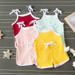 Лето Детская одежда Детские Сплошные Слинг Rompers младенцев рукавов подтяжк Комбинезоны для малышей Одежда для девочек Для мальчиков Повседневная одежда M1809
