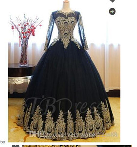 Scoop Ball Gown Appliques Floor-Length Quinceanera Dress prom