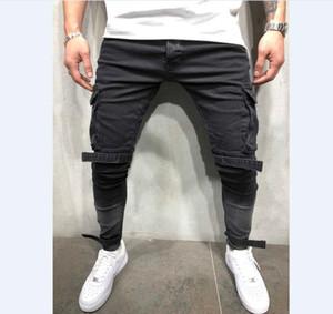 Bendaggio Biker Jeans Uomo Slim Fit Multi-tasca dei pantaloni cargo Pantaloni per gli uomini Motociclo Hip hop Streetwear pantaloni del denim