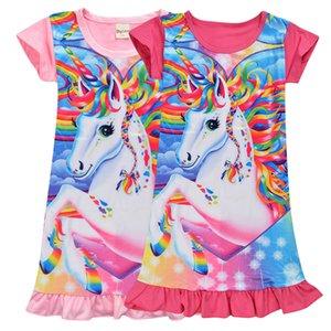 Mädchen Einhorn Kleider Baby-Medium-Längen-Rock-Kind-Mädchen-Kleid-Einhorn-Karikatur Nightgown-Kleid-Kind-Sommer Kinderkleidung GGA3171-6