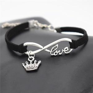 Chaude Authentique Argent Infinity Amour Infinity Love Roi Couronne Impériale Pendentif Charm Bracelet Noir En Daim En Cuir DIY Personnalisé Femmes Hommes Bijoux