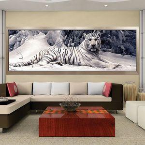 Broderie Peinture 5d Diy Point de croix Tigre blanc diamant rond mosaïque animaux Accueil Peintures Loisirs Artisanat Q190528
