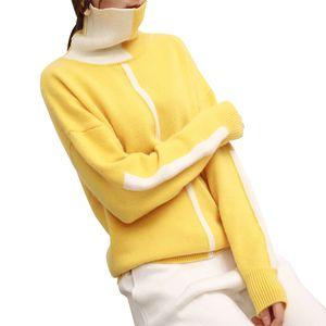 Natal Mulheres Winter Casual color blocking Angorá Lã Cashmere suéter de gola alta pulôver Jumper Patchwork bonito Sweater