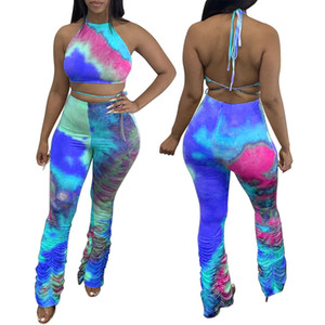 Sexy Two Piece Set Femmes Crop Top et Modycon Pantalons empilés Leggings Associés Ensembles Club Vêtements d'été pour femmes 2 pièces