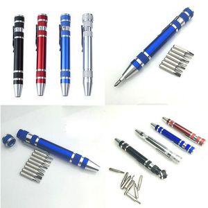 Multifunktions-8 in 1 Präzisions-Schraubendreher mit magnetischen mini beweglichen beweglichen Aluminium Werkzeug Stift Reparatur-Werkzeugen für Handys DBC VT0220