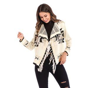 Bayan Yaka Püskül Geometrik Desen Uzun Kollu Wrap Örme Tığ Kazak Hırka Lady Pelerin Şal Saçak için Rahat Ceket