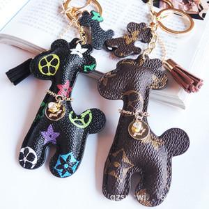 Кожаный дизайнер брелок PU животных кулон сумка подвески брелок милые модные подарочные украшения аксессуары мультфильм жираф ключ цепи кольца держатель