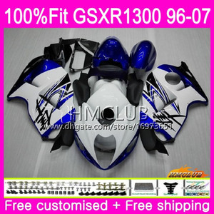 Injection For SUZUKI Hayabusa GSXR1300 GSXR 1300 96 02 03 04 05 06 07 22HM.34 GSX R1300 2002 2003 2004 2005 2006 2007 Hot White Blue Fairing