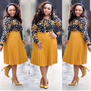 2019 Automne Nouvelles Robes Africaines Pour Les Femmes Imprimé Vetsidos Casual Midi Robe Afrique Dame Vêtements S8006 Printemps Vêtements Y190426