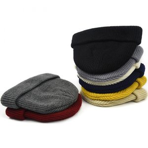 Fashion- knitted hat beanie skullcap women sailor cap cuff brimless retro navy style beanie hat