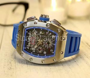 Top mode automatique mécanique montre à remontage automatique hommes cadran argenté bracelet en caoutchouc montre chronomètre classique Tonneau horloge 6061