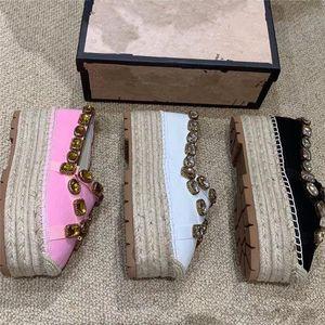 Sandalia zapatos de diseño vintage zapatos de mujer Alpargatas sandalias doradas de lujo sandalias diseñador slipper luxe triple gem ribbon size35-41