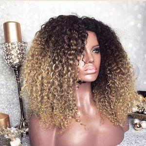 Moda african kadınlar styleMongolian Afro Kinky Kıvırcık Peruk Ombre Peruk 250 Yoğunluk Renkli sentetik Dantel Açık Peruk Doğal Saç Çizgisi