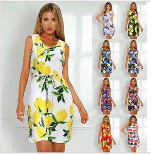 2020 ilkbahar ve yaz yeni kadın Avrupa ve Amerikan patlama modelleri moda seksi bağcıklı yelek baskılı elbise