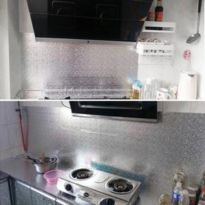 Self-adhesive Wallpaper Waterproof Moisture proof Mildew proof Aluminum Foil Kitchen Oil-proof Stickers Tile Wall Paper Sticker
