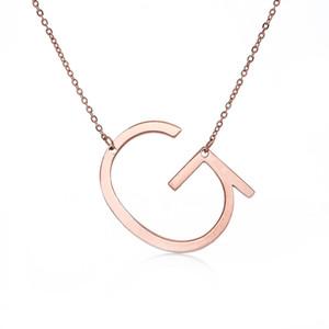 Moda de Nova Stainless Steel A-Z colar carta de Inglês de prata banhado a ouro Capital Alfabeto inicial Colares do por Mulheres Jóias presente