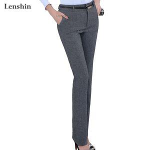 Lenshin Plus Size Formal Adjustable Hosen für Frauen-Büro-Dame-Art Arbeitskleidung Gerade Gürtelschlaufe Hosen Business Design T190613