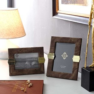 Modern Photo Frame 4x6 Inch Office Desktop Ornament Europe Leather Picture Frame