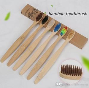 Écologique en bambou souple en nylon Brosse à dents Capitellum Brosse à dents avec poignée en bois Brosse à dents à faible carbone pour l'hygiène buccale Hotel Supplies