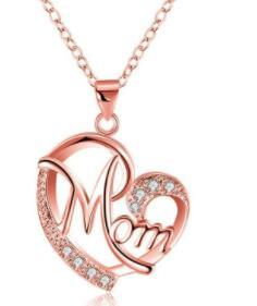 DHL Crystal Heart Mom Necklace Pendant Diamond Fashion Love Mom Contrast Color Jewelry Mother Birthday Day Gift nx