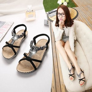 Chenyang Bird Bohemian Low-Top Open Toe Sandals Student Female Summer Simple Sequined Beach Shoes Flat-Heel Roman Shoes