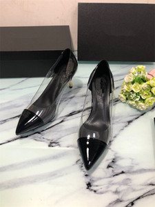 Hot Sale women transparent high heel shoes genuine leather lady pearl heel dress shoes female PVC loafers blingbling