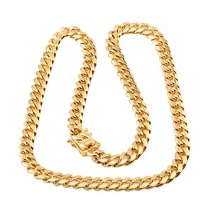 Cuban link jewelry chain necklaces pride stainless steel big long 18k gold necklace charms chains for men filled chunky accesories hiphop