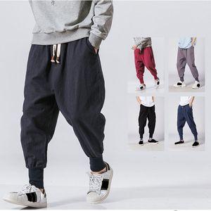 Pantalons hommes hommes Harajuku Harem 2021 Mens d'été Summer Casual Coton Linge Pieds Joggers Masculin Vintage Style chinois Street Mode