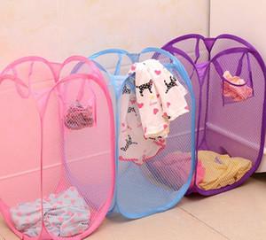 Складные Корзины Одежды для хранения сетки сора Одежда бельевой корзины Переносных Sundries Организатор всплывал стирку одежды бен LJJK1770