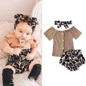 Ins 2020 Summer leopard print baby girls suits Newborn Outfits Infant Sets T shirt+shorts+headband 3pcs set baby girl clothes B1161