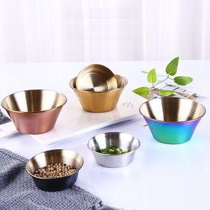 Assaisonnement plats sauce en acier inoxydable Vaisselle alimentaire Tremper Bowls Snack Petit Plate Restaurant Hôtel Cuisine Assaisonnement Bowl