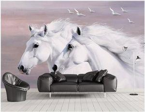 WDBH 3d foto wallpaper murale personalizzato stile europeo dipinto a mano bianco coppia cavallo volare uccelli decorazioni 3d murales carta da parati