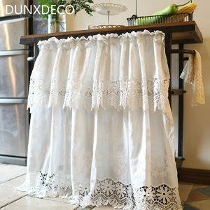 DUNXDECO Короткий занавес для кухни Дверная Половина Кортинас Country Style White Cotton Lace Полые-Out Тонкий Ридо Home Decor