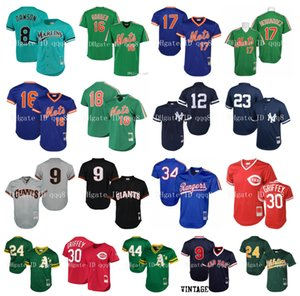 Vintage Mesh Jersey Ken Griffey Jr. Dwight Gooden Ted Williams Hernandez Darryl Strawberry Andre Dawson Henderson Wade Boggs Retro Baseball
