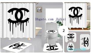 Rideaux européens Imprimer Pour Salon Salle de bain de luxe Motif aveugle Fenêtre Rideaux rideaux Rideau de douche imprimé Tapis 3PCS Suit