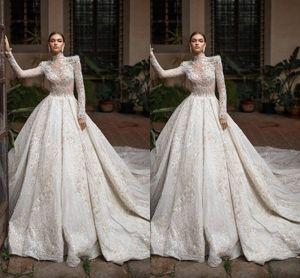 2020 Luxueux Haut Cou Arabe Église Musulmane Une Ligne Robes De Mariée Manches Longues Tulle Appliques Paillettes Ajusté Robes De Mariée Plus La Taille