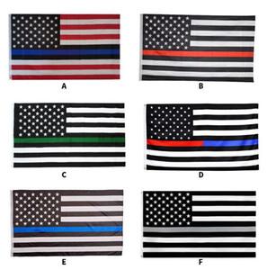 أعلام 6Styles الخط الأزرق الشرطة USA 3x5Fts رقيقة الخط الازرق USA العلم الأسود الأبيض والأزرق العلم الأميركي للبحر الشرطة GGA3465 الشحن