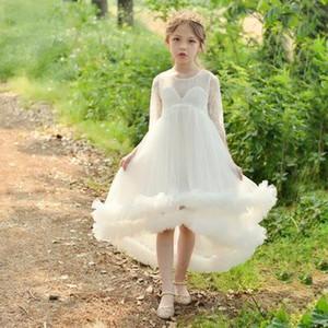2020 neue lange lange Hülse der Art Spitzehülse einfach gut aussehende Mode Handarbeit Blume peng peng Rock Host Mädchen Klavierspiel Kleid