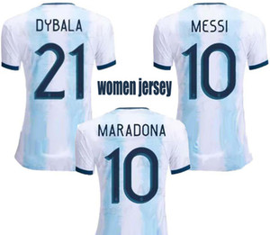 2019 Argentinien-Hauptfußballjerseys Frauen-WM 19 20 Fußball-Jersey-MESSI Dybala Ladys Shirts Female Top Thai Qualität Sport Uniformen