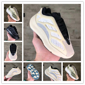 2020 700 V3 Kanye West Phosphorescent réfléchissant Chaussures de course pour enfants coureur de vague carbone fille garçon bleu enfants chaussures