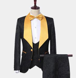 Apuesto padrinos de boda Mantón solapa del novio esmoquin para hombre vestido de novia El hombre de la chaqueta de la chaqueta de fiesta cena de 3 piezas traje (chaqueta + Pants + Tie + Vest) B462