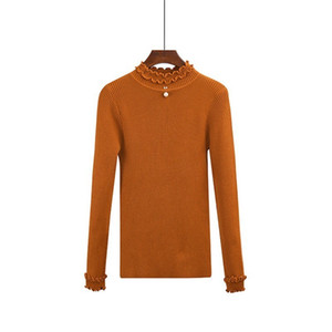 Sweater Women Korean All-match Knitted Pullover Stretch Ruched Pearl Splicing Half Turtle-neck Tops Long Sleeve Sueter