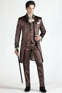 Embroidery Groomsmen Mandarin Lapel Groom Tuxedos Chocolate Men Suits Wedding Prom Dinner Best Man Blazer ( Jacket+Pants+Tie+Vest ) K203