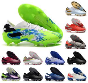 2020 Mens Месси Nemeziz 19,1 FG Uniforia пакет 19 + х 19,1 скольжения на обувь Футбол низкого голеностопного Открытых сапог Бутсы Размер US6.5-11