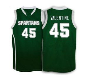 Cheap Michigan State Spartans #45 Denzel Valentine basketball Jersey , white Green Men's Customize any size number and player name
